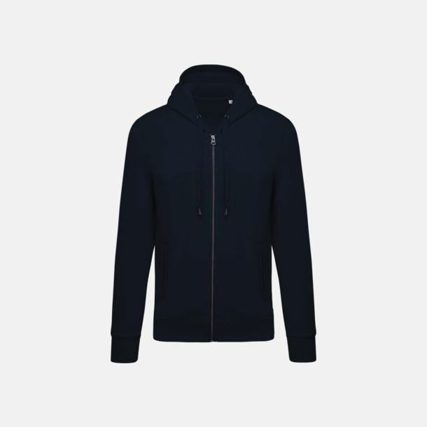 Marinblå (herr) Blixtlåsförsedda eko hoodies med reklamtryck