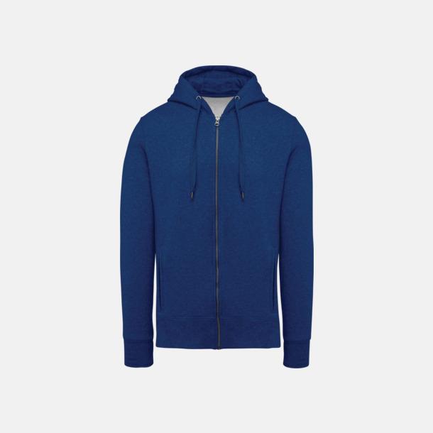 Ocean Blue Heather (herr) Blixtlåsförsedda eko hoodies med reklamtryck