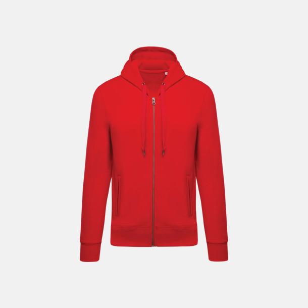 Röd (herr) Blixtlåsförsedda eko hoodies med reklamtryck