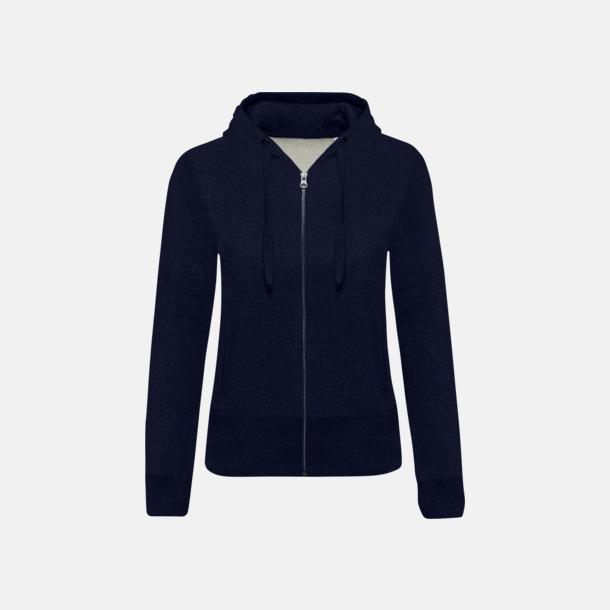 French Navy Heather (dam) Blixtlåsförsedda eko hoodies med reklamtryck