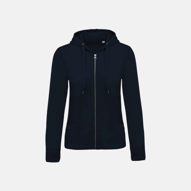 Marinblå (dam) Blixtlåsförsedda eko hoodies med reklamtryck