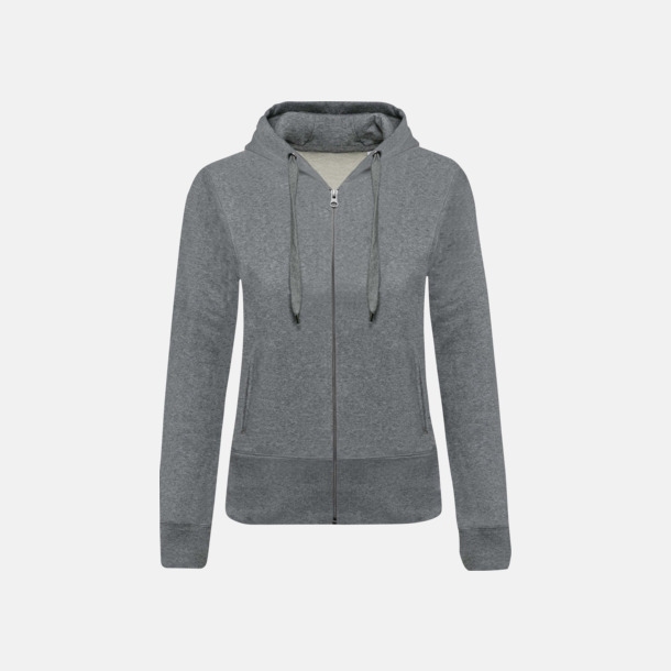 Grey Heather (dam) Blixtlåsförsedda eko hoodies med reklamtryck