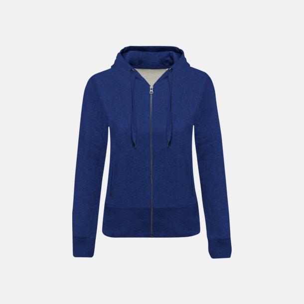 Ocean Blue Heather (dam) Blixtlåsförsedda eko hoodies med reklamtryck