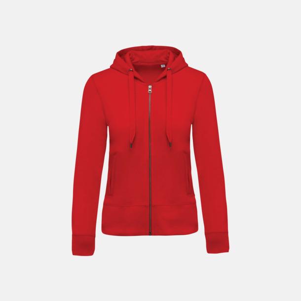 Röd (dam) Blixtlåsförsedda eko hoodies med reklamtryck