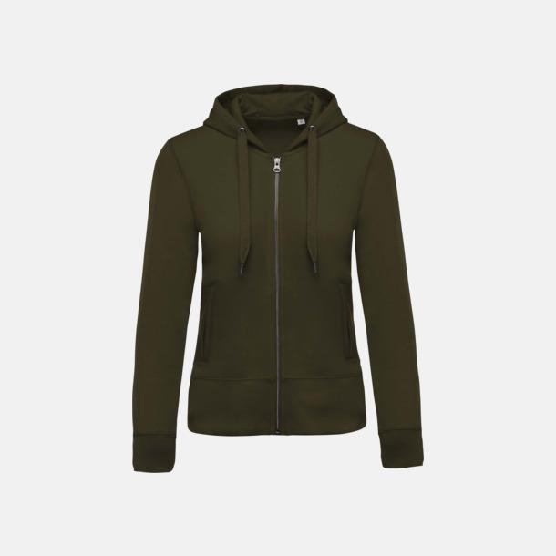 Mossy Green (dam) Blixtlåsförsedda eko hoodies med reklamtryck