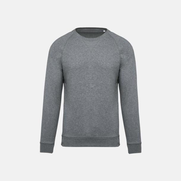Grey Heather (herr) Sweatshirts i eko-bomull med reklamtryck