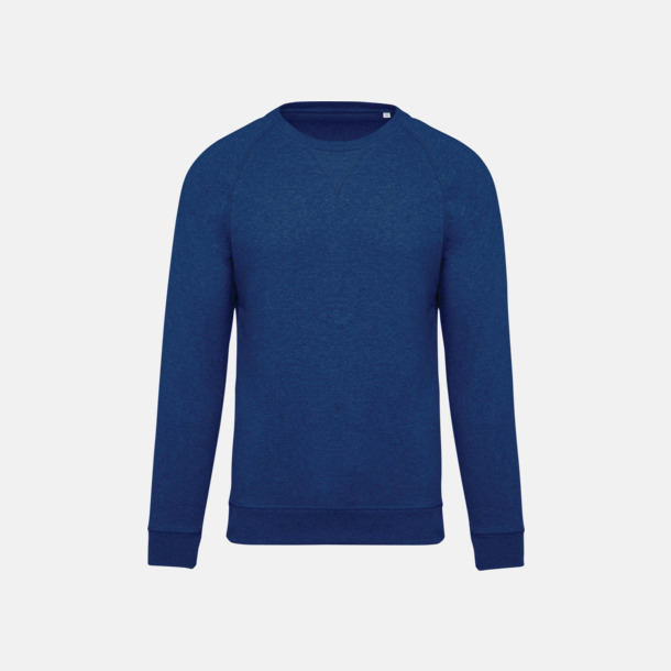 Ocean Blue Heather (herr) Sweatshirts i eko-bomull med reklamtryck