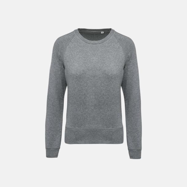 Grey Heather (dam) Sweatshirts i eko-bomull med reklamtryck