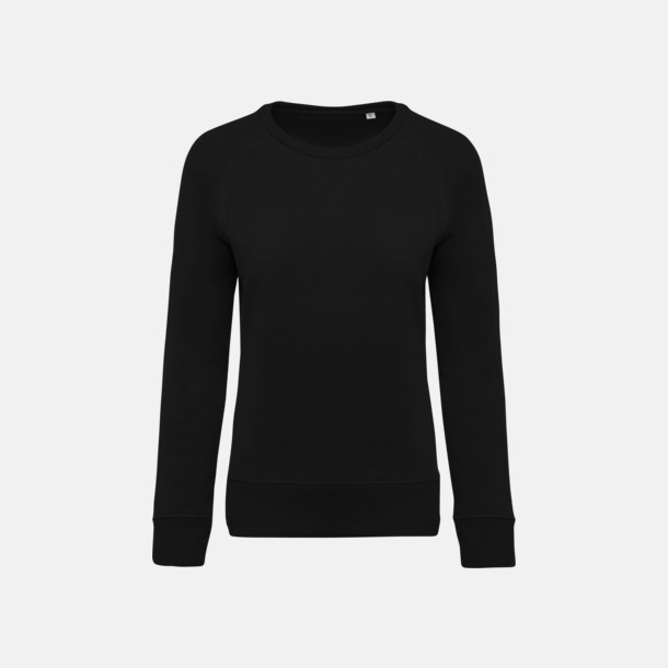 Svart (dam) Sweatshirts i eko-bomull med reklamtryck