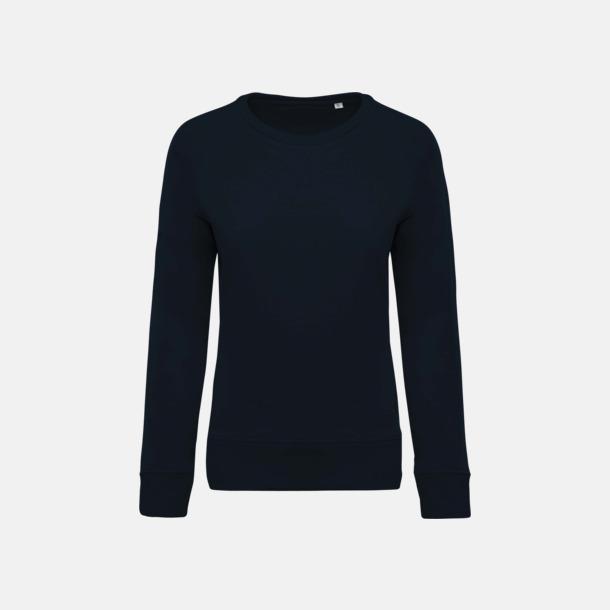 Marinblå (dam) Sweatshirts i eko-bomull med reklamtryck