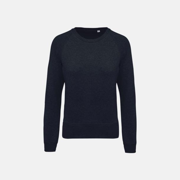 French Navy Heather (dam) Sweatshirts i eko-bomull med reklamtryck