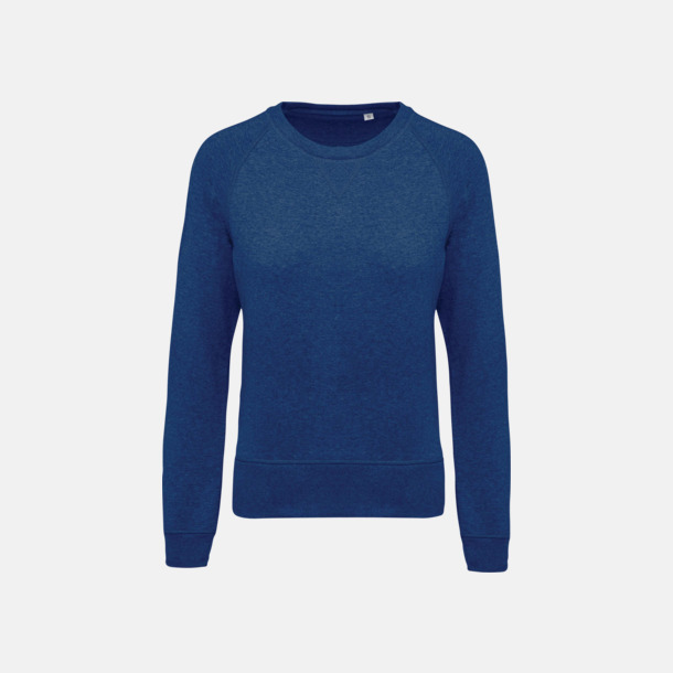 Ocean Blue Heather (dam) Sweatshirts i eko-bomull med reklamtryck