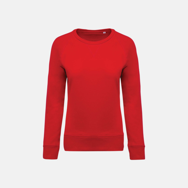 Röd (dam) Sweatshirts i eko-bomull med reklamtryck