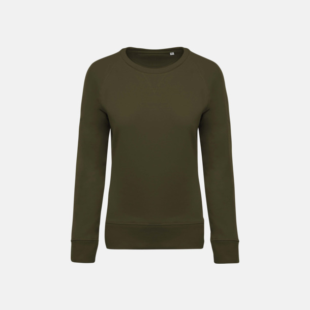 Mossy Green (dam) Sweatshirts i eko-bomull med reklamtryck