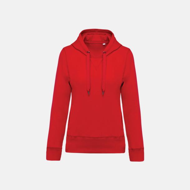 Röd (dam) Huvtröjor i eko-bomull med reklamtryck