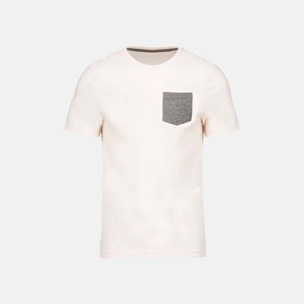 Cream/Grey Heather Eko t-shirts med kontrastficka med reklamtryck
