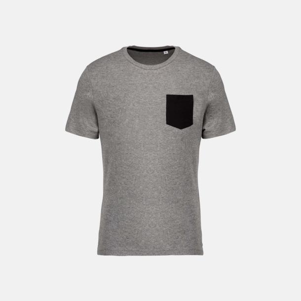 Grey Heather/Svart Eko t-shirts med kontrastficka med reklamtryck