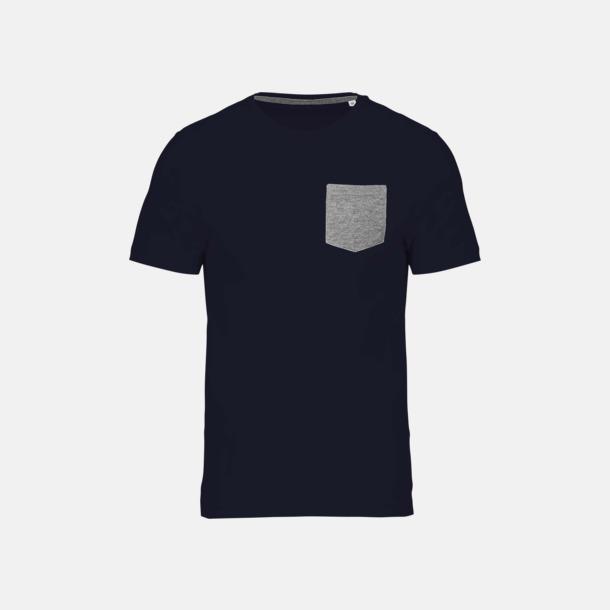 Marinblå/Grey Heather Eko t-shirts med kontrastficka med reklamtryck
