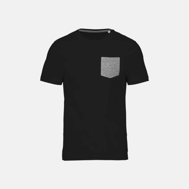 Svart/Grey Heather Eko t-shirts med kontrastficka med reklamtryck