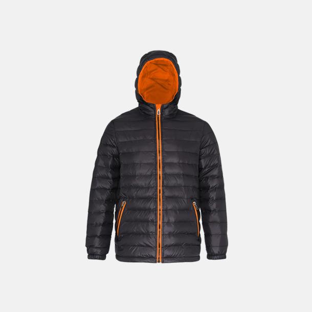 Svart/Orange (dam) Fina, vadderade jackor med reklamtryck