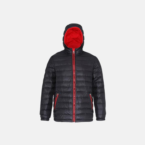 Svart/Röd (dam) Fina, vadderade jackor med reklamtryck