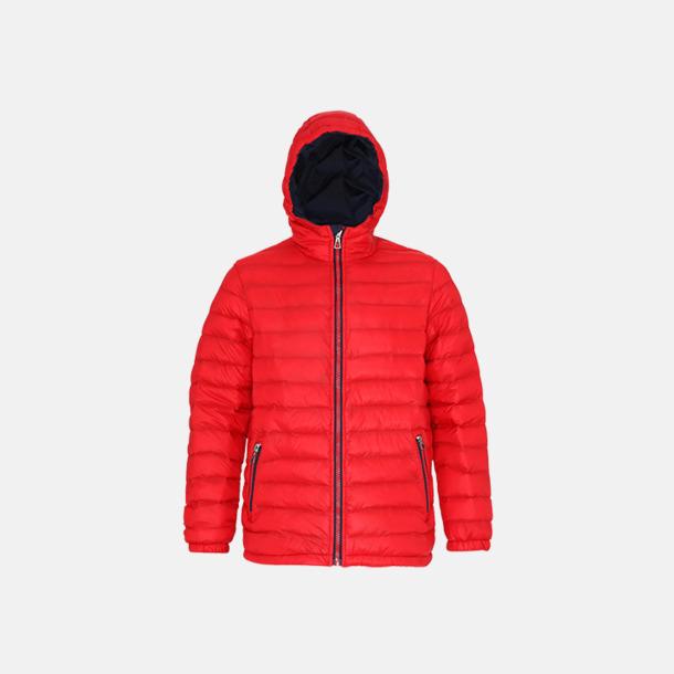 Röd/Marinblå (herr) Fina, vadderade jackor med reklamtryck