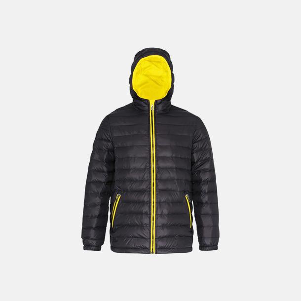 Svart/Bright Yellow (herr) Fina, vadderade jackor med reklamtryck