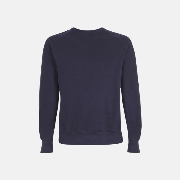 Marinblå Eko unisex sweatshirts med reklamtryck