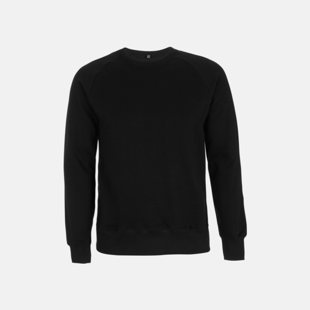Svart Eko unisex sweatshirts med reklamtryck