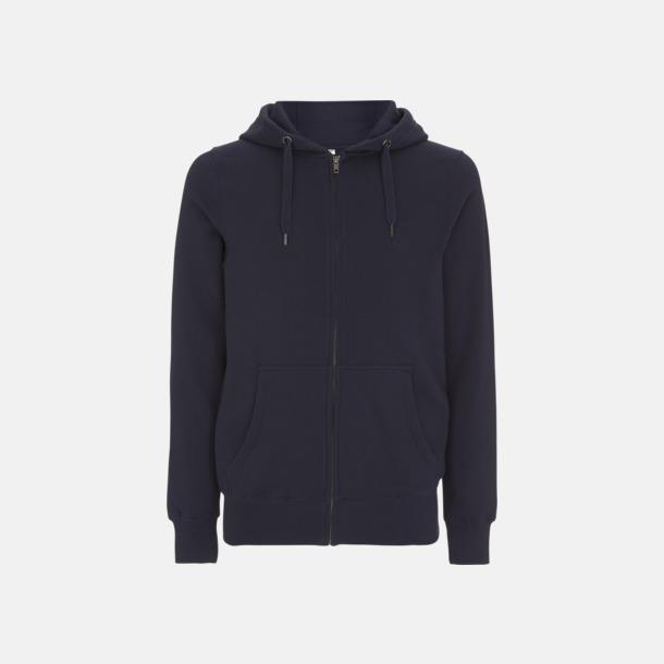Marinblå Blixtlåsförsedda eko unisex hoodies med reklamtryck