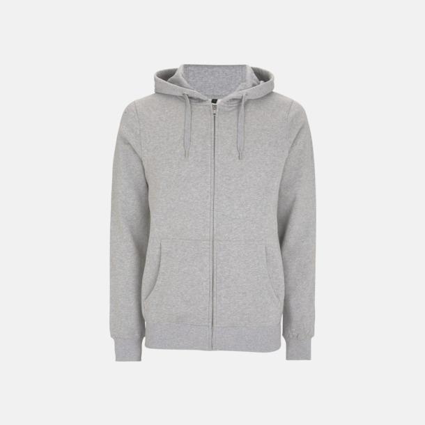 Melange Grey Blixtlåsförsedda eko unisex hoodies med reklamtryck
