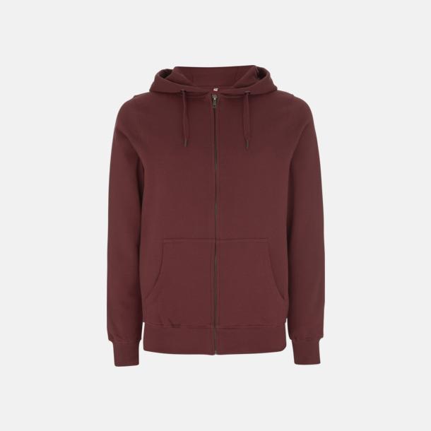 Burgundy Blixtlåsförsedda eko unisex hoodies med reklamtryck