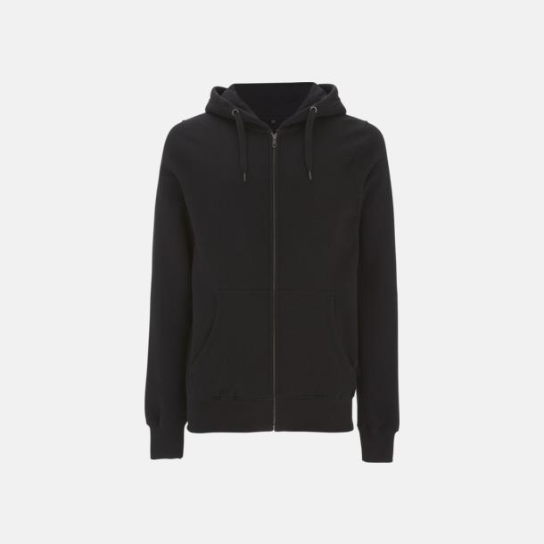 Svart Blixtlåsförsedda eko unisex hoodies med reklamtryck