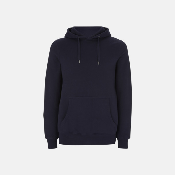 Marinblå Eko pullover hoodies med reklamtryck