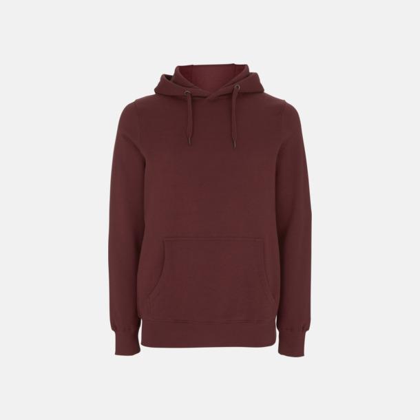 Burgundy Eko pullover hoodies med reklamtryck