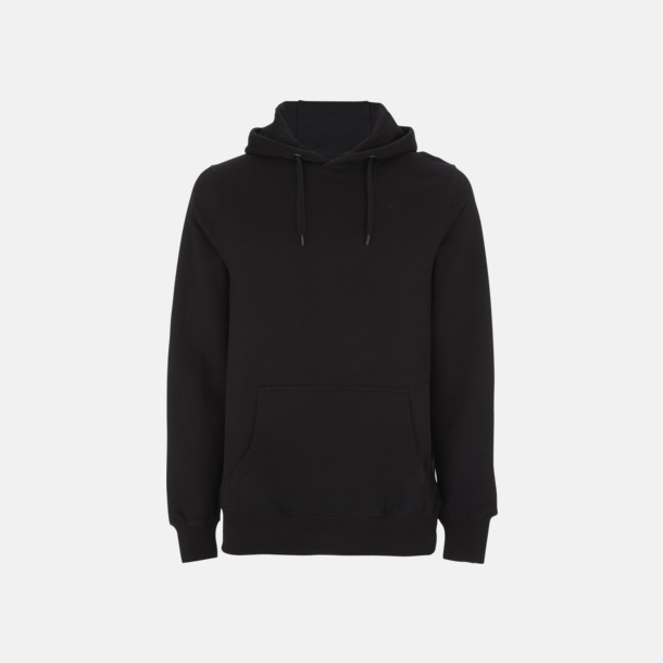 Svart Eko pullover hoodies med reklamtryck