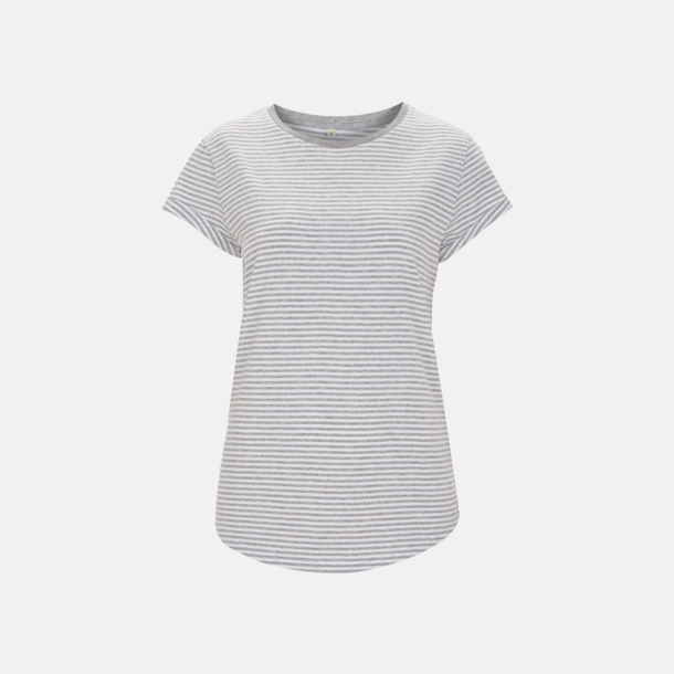 Vit/Melange Grey Stripes Eko dam t-shirts med rullade ärmar - med reklamtryck
