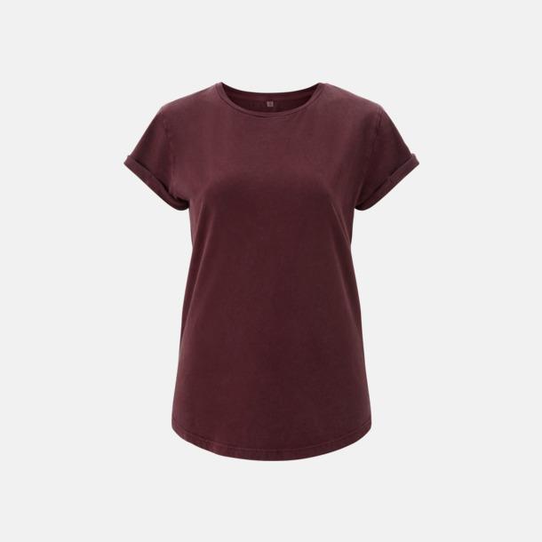 Stone Wash Burgundy Eko dam t-shirts med rullade ärmar - med reklamtryck