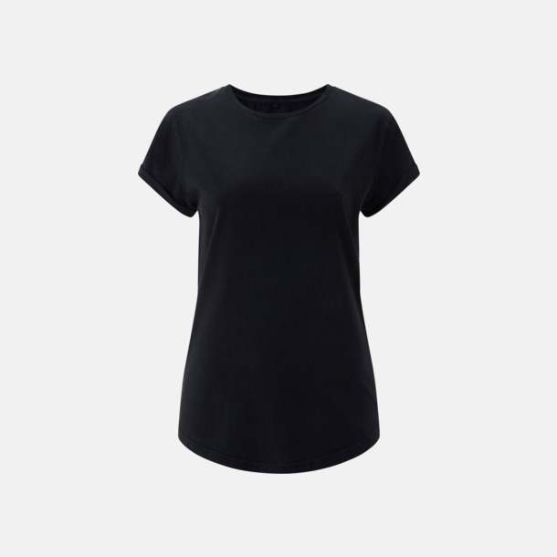 Stone Wash Black Eko dam t-shirts med rullade ärmar - med reklamtryck