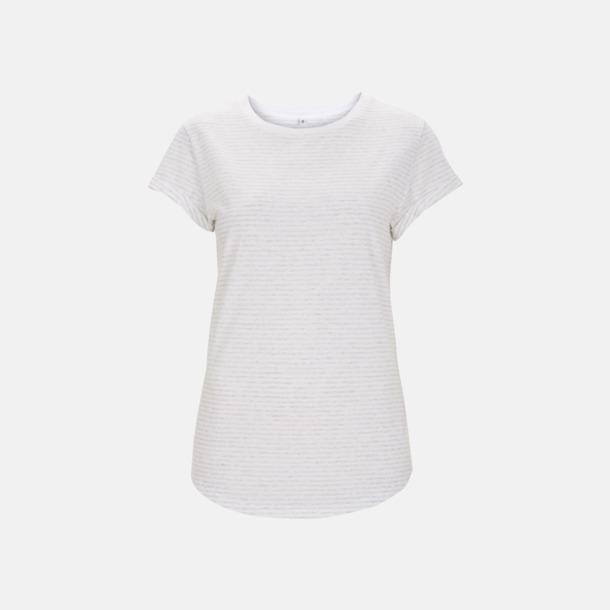 Vit/Melange White Stripes Eko dam t-shirts med rullade ärmar - med reklamtryck