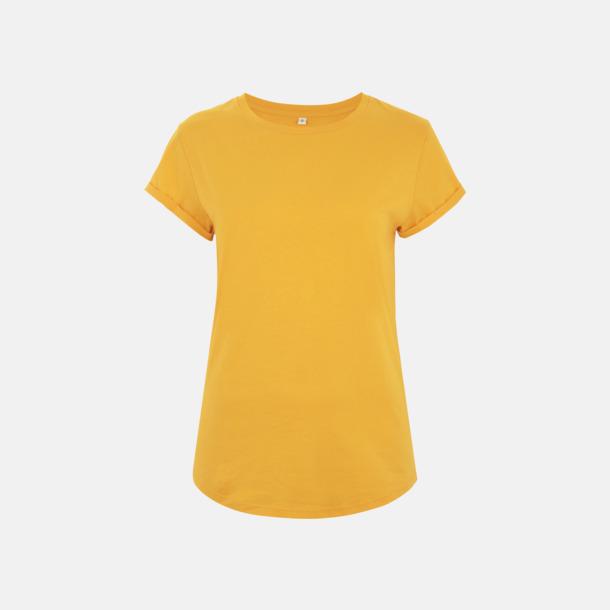 Gold Eko dam t-shirts med rullade ärmar - med reklamtryck