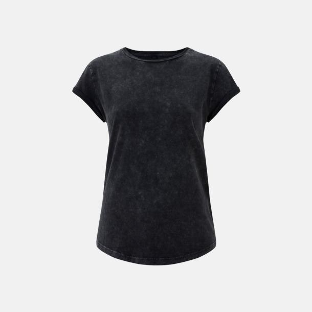 Acid Black Eko dam t-shirts med rullade ärmar - med reklamtryck