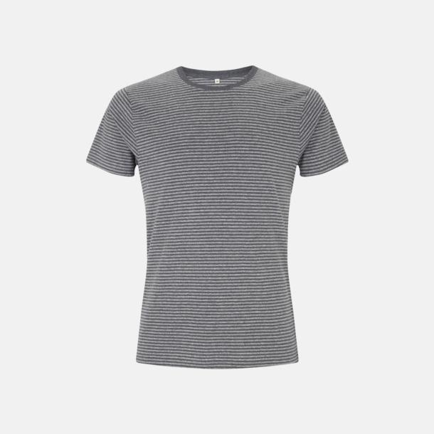 Black Marl/Dark Heather Stripes Unisex eko t-shirt med reklamtryck