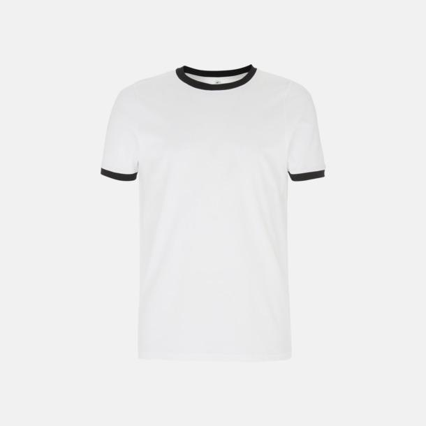 Vit/Svart Ringer Unisex eko t-shirt med reklamtryck
