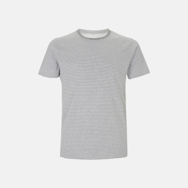 Vit/Melange Grey Stripes Unisex eko t-shirt med reklamtryck