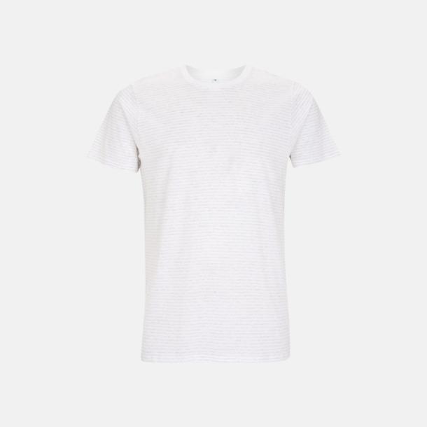 Vit/Melange White Stripes Unisex eko t-shirt med reklamtryck