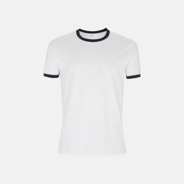 Vit/Marinblå Ringer Unisex eko t-shirt med reklamtryck