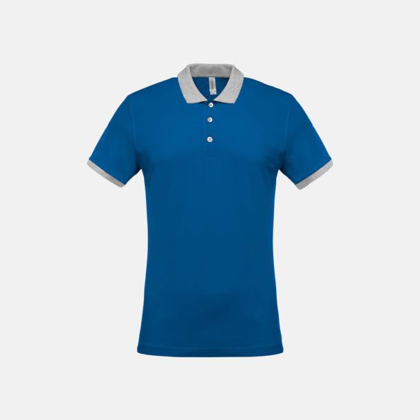 Light Royal Blue/Oxford Grey (herr) 2-färgade pikéer med reklamtryck