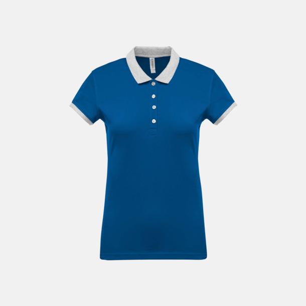 Light Royal Blue/Oxford Grey (dam) 2-färgade pikéer med reklamtryck
