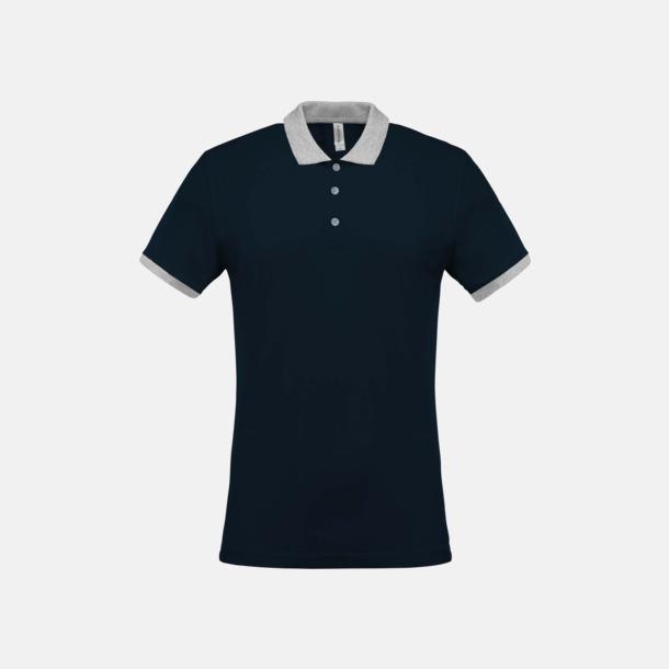 Marinblå/Oxford Grey (herr) 2-färgade pikéer med reklamtryck